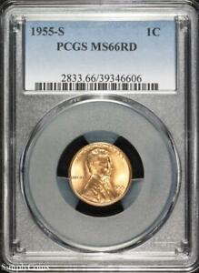 1955 S LINCOLN WHEAT PENNY CENT   PCGS MS66 RD RED   P3 6606
