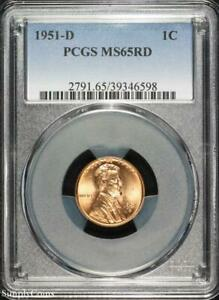 1951 D LINCOLN WHEAT PENNY CENT   PCGS MS65 RD RED   P3 6598