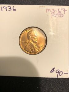 1936 LINCOLN CENT WHEAT PENNY BRILLIANT RED SUPERB GEM BU   RD