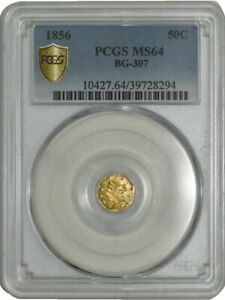Click now to see the BUY IT NOW Price! 1856 CALIFORNIA FRACTIONAL GOLD 50C BG 307 MS64 PCGS SECURE 938557 32