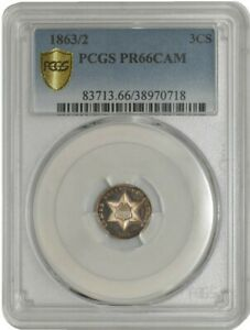 Click now to see the BUY IT NOW Price! 1863/2 THREE CENT 3CS PR66 CAMEO SECURE PLUS PCGS 942601 1
