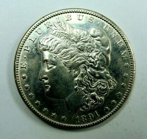 1891 CC UNCERTIFIED BETTER DATE BU DETAILS CLEANED MORGAN  SILVER DOLLAR