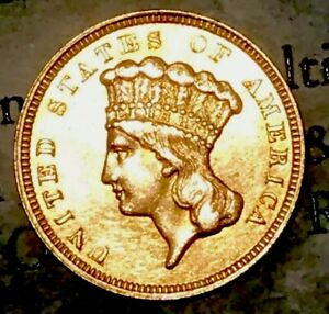 1857 US $3 THREE DOLLAR INDIAN PRINCESS GOLD COIN XF AU TYPE 3 FREE SHIP
