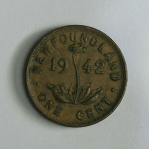 1942 NEWFOUNDLAND SMALL ONE CENT COIN   KING GEORGE VI