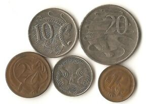 FIVE AUSTRALIA COINS 1 2 5 10 AND 20 CENTS DATED 1966   2007