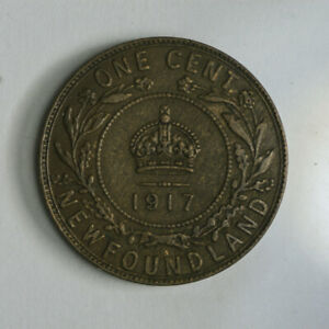 1917 NEWFOUNDLAND ONE CENT COIN   KING GEORGE V