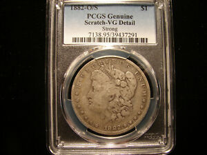 1882 O/S STRONG MORGAN SILVER DOLLAR  PCGS VG DETAIL   SCRATCH AS PICTURED.