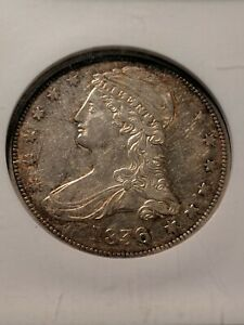 Click now to see the BUY IT NOW Price! 1836 REEDED EDGE CAPPED BUST HALF DOLLAR 50C   NGC AU 55   EXCEEDINGLY