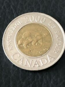 CANADA 2000 KNOWLEDGE TOONIE CANADIAN $2 DOLLARS TWO DOLLAR EXACT COIN