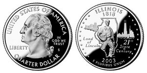 SILVER 2003 S GEM BU PROOF ILLINOIS STATE QUARTER  UNCIRCULATED COIN3540