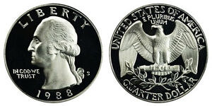 1988 S GEM BU PROOF WASHINGTON QUARTER BRILLIANT UNCIRCULATED 25 CENT COIN PF