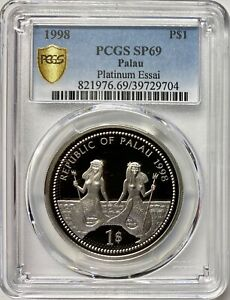 Click now to see the BUY IT NOW Price! 1998 PALAU 1OZ PLATINUM ESSAI ONE DOLLAR PCGS SP69