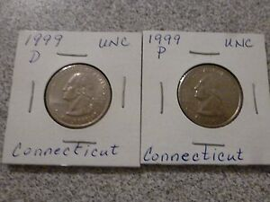 1999 P/D  BOTH UNCIRCULATED  CONNECTICUT STATE QUARTERS US 1/4 DOLLARS