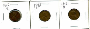 1942 P D S WHEAT PENNIES LINCOLN CENTS CIRCULATED 2X2 FLIPS 3 COIN PDS SET3497