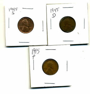 1945 P D S WHEAT PENNIES LINCOLN CENTS CIRCULATED 2X2 FLIPS 3 COIN PDS SET3439