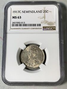 1917C CANADA NEWFOUNDLAND 25 CENTS NGC MS63  GRADES HIGH VALUE