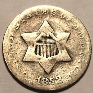 1852 THREE CENT SILVER AVERAGE CIRCULATED 5