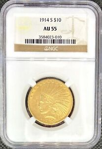 1914 S  $10 GOLD INDIAN AMERICAN EAGLE  NGC AU55  LUSTROUS KEY DATE COIN