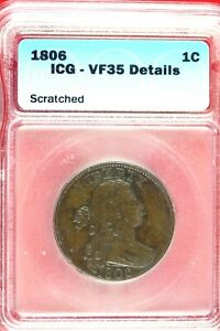 1806   ICG VF35 DETAILS LARGE CENT DRAPED BUST    HD0208