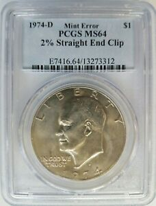 1974 D EISENHOWER DOLLAR IKE PCGS MS 64 CURVED CLIP 2  CLIPPED MINT ERROR COIN