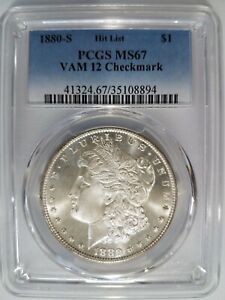 1880 S MORGAN SILVER DOLLAR PCGS MS 67 VAM 12 CHECKMARK MINT ERROR HIT LIST