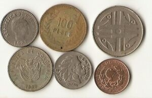 SIX COLOMBIA COINS 1 AND 10 CENTAVOS 50 100 AND 200 PESOS 1956  2007