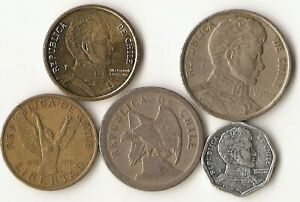 LOT OF FIVE CHILE COINS 20 CENTAVOS 1 AND 10 PESOS 1975  1915 CONDOR