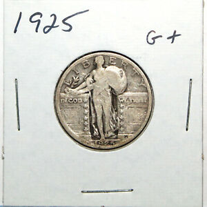 1925 US STANDING LIBERTY SILVER QUARTER   GOOD  91C