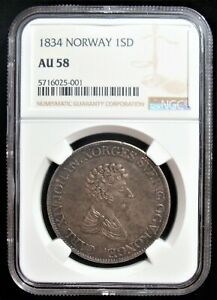Click now to see the BUY IT NOW Price! NORWAY: 1834 SILVER SPECIE DALER KM 301 NGC AU 58. ERROR.
