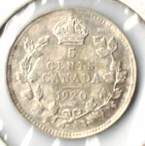 CANADA COIN   FIVE CENT 1920  SILVER .800     3