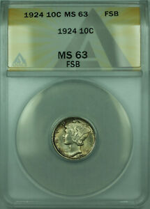 Click now to see the BUY IT NOW Price! 1924 MERCURY SILVER DIME 10C COIN ANACS MS 63 FSB FB TONED  BETTER COIN