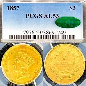 1857  $3 GOLD THREE DOLLAR PRINCESS  AU53 NGC  KEY DATE  CAC CERTIFIED COIN