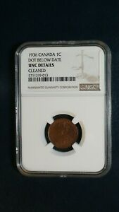 Click now to see the BUY IT NOW Price! MEGA  1936 CANADA ONE CENT NGC UNCIRCULATED DOT BELOW DATE 1C COIN BUY IT