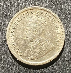 OLD FOREIGN WORLD COIN: 1917 CANADA 5 CENTS GEORGE V .925 SILVER