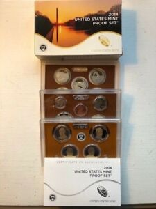 2014 US MINT PROOF SET WITH BOX AND COA  14 COINS