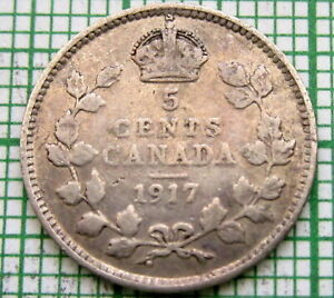 CANADA GEORGE V 1917 5 CENTS SILVER