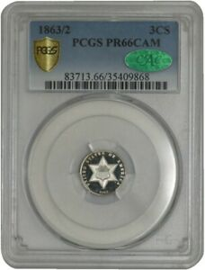 Click now to see the BUY IT NOW Price! 1863/2 THREE CENT 3CS PR66 CAMEO SECURE PLUS PCGS   CAC
