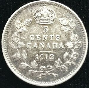 1912 CANADA 5 CENTS SILVER COIN