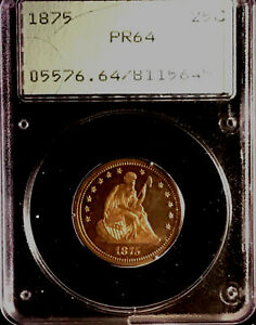 1875 SEATED LIBERTY PROOF QUARTER 25C PCGS PR64   IN OLD RATTLER COIN HOLDER 0GH
