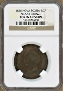 Click now to see the BUY IT NOW Price! 1856 NOVA SCOTIA 1/2P TOKEN NS 5A1 NGC AU58