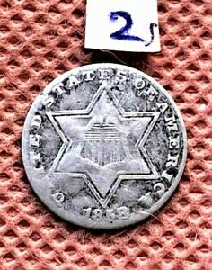 1858 SILVER 3 CENT COIN EXCELLENT DETAIL SEE PICTURE 2