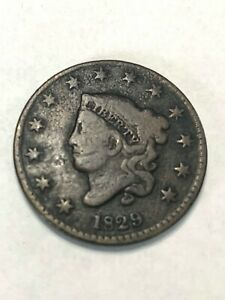 1829 LARGE CENT CORONET HEAD ONE CENT