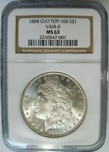 1884 O/O SILVER MORGAN DOLLAR NGC MS 63 VAM 6 REPUNCHED MINT MARK RPM COIN