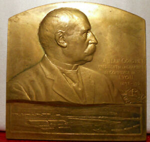 1921 MDAILLE BRONZE PLAQUE PAR PILLET 68MM JEAN COIGNET LYON PORT RAMBAUD