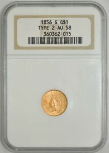 1856 S $ GOLD INDIAN TYPE 2 AU58 NGC 942819 1