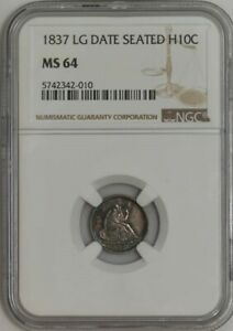 1837 SEATED LIBERTY HALF DIME H10C LG DT MS64 NGC 942234 1