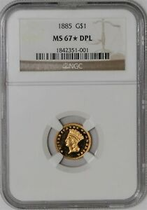 Click now to see the BUY IT NOW Price! 1885 $ GOLD INDIAN DOLLAR MS67  DPL DMPL NGC 937521 1