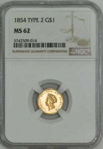 1854 TYPE 2 $ GOLD INDIAN MS62 NGC 943052 25