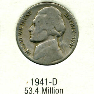 1941 D  JEFFERSON NICKEL   US AMERICAN OLD NCIE 5 CENT COINFIVE A3508