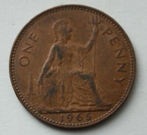 BRITISH 1965 ONE PENNY COIN. ELIZABETH II